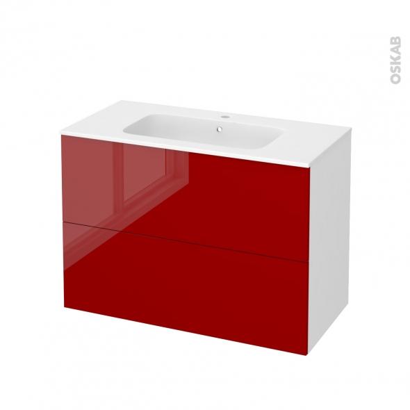 STECIA Rouge - Meuble salle de bains N°611 - Vasque REZO - 2 tiroirs  - L100,5xH71,5xP50,5