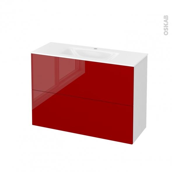 Meuble de salle de bains - Plan vasque VALA - STECIA Rouge - 2 tiroirs - Côtés blancs - L100,5 x H71,2 x P40,5 cm