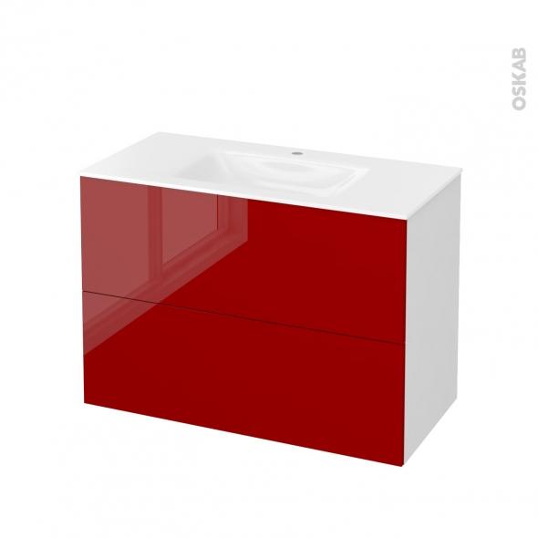 Meuble de salle de bains - Plan vasque VALA - STECIA Rouge - 2 tiroirs - Côtés blancs - L100,5 x H71,2 x P50,5 cm