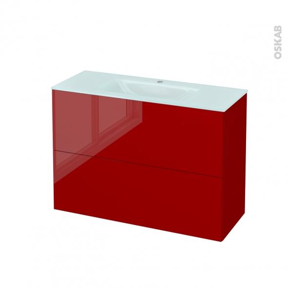 Meuble de salle de bains - Plan vasque EGEE - STECIA Rouge - 2 tiroirs - Côtés décors - L100,5 x H71,2 x P40,5 cm