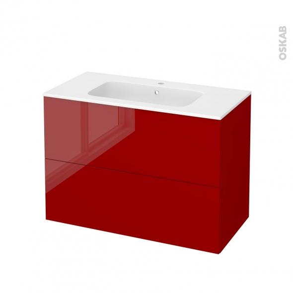 Meuble de salle de bains - Plan vasque REZO - STECIA Rouge - 2 tiroirs - Côtés décors - L100,5 x H71,5 x P50,5 cm