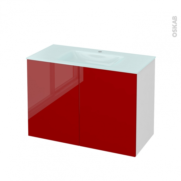 Meuble de salle de bains - Plan vasque EGEE - STECIA Rouge - 2 portes - Côtés blancs - L100,5 x H71,2 x P50,5 cm