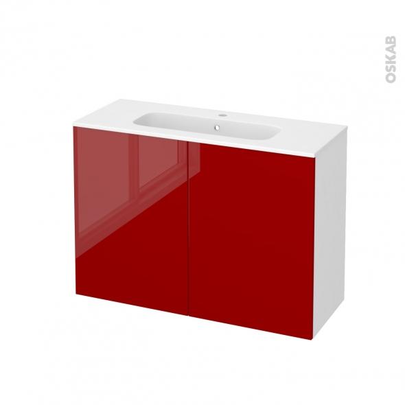 Meuble de salle de bains - Plan vasque REZO - STECIA Rouge - 2 portes - Côtés blancs - L100,5 x H71,5 x P40,5 cm