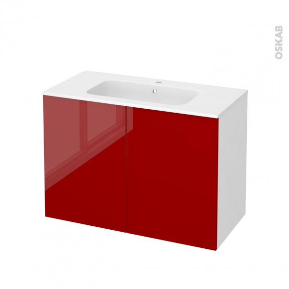 Meuble de salle de bains - Plan vasque REZO - STECIA Rouge - 2 portes - Côtés blancs - L100,5 x H71,5 x P50,5 cm