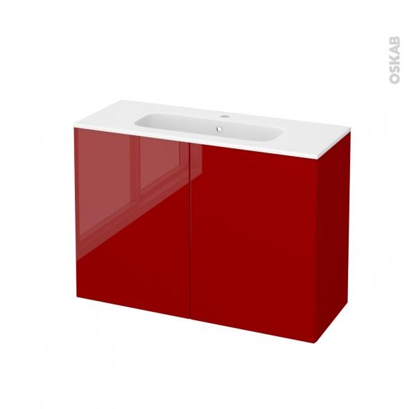 Meuble de salle de bains - Plan vasque REZO - STECIA Rouge - 2 portes - Côtés décors - L100,5 x H71,5 x P40,5 cm