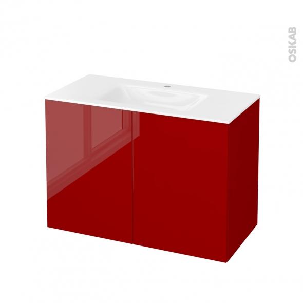 Meuble de salle de bains - Plan vasque VALA - STECIA Rouge - 2 portes - Côtés décors - L100,5 x H71,2 x P50,5 cm