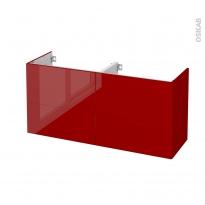 Meuble de salle de bains - Sous vasque double - STECIA Rouge - 4 tiroirs - Côtés décors - L120 x H57 x P40 cm