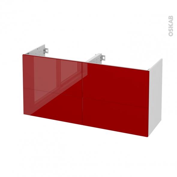 STECIA Rouge - Meuble sous vasque N°671 - Côté blanc - Double vasque - 4 tiroirs prof.40 - L120xH57xP40