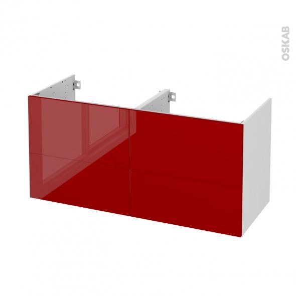 STECIA Rouge - Meuble sous vasque N°671 - Côté blanc - Double vasque - 4 tiroirs - L120xH57xP50