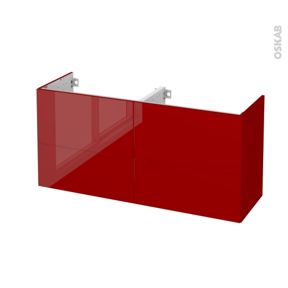 STECIA Rouge - Meuble sous vasque N°672 - Côté décor - Double vasque - 4 tiroirs prof.40 - L120xH57xP40