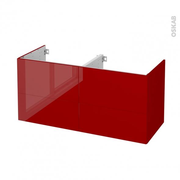 STECIA Rouge - Meuble sous vasque N°672 - Côté décor - Double vasque - 4 tiroirs - L120xH57xP50