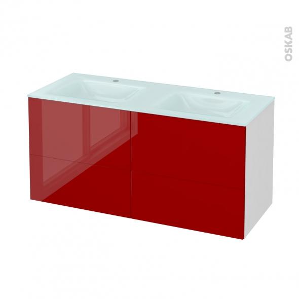 STECIA Rouge - Meuble salle de bains N°671 - Double vasque EGEE - 4 tiroirs  - L120,5xH58,2xP50,5