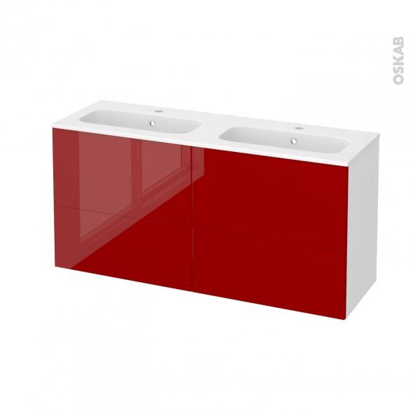 Meuble de salle de bains - Plan double vasque REZO - STECIA Rouge - 4 tiroirs - Côtés blancs - L120,5 x H58,5 x P40,5 cm