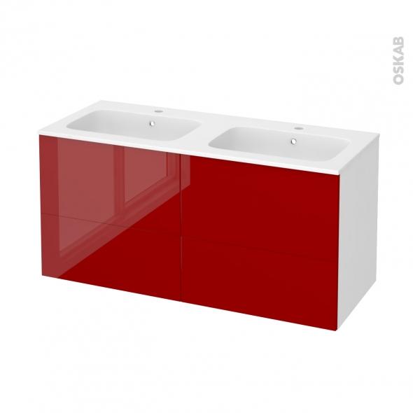 Meuble de salle de bains - Plan double vasque REZO - STECIA Rouge - 4 tiroirs - Côtés blancs - L120,5 x H58,5 x P50,5 cm