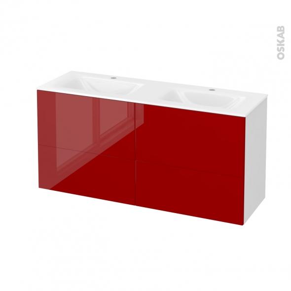 Meuble de salle de bains - Plan double vasque VALA - STECIA Rouge - 4 tiroirs - Côtés blancs - L120,5 x H58,2 x P40,5 cm