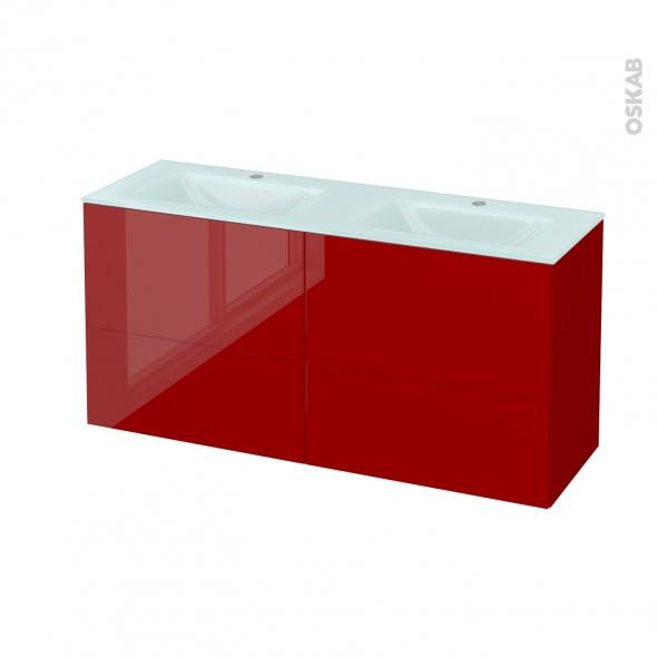 Meuble de salle de bains - Plan double vasque EGEE - STECIA Rouge - 4 tiroirs - Côtés décors - L120,5 x H58,2 x P40,5 cm