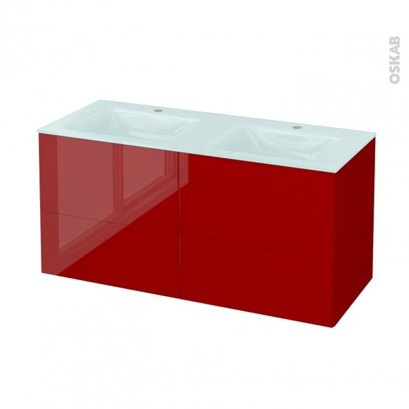 Meuble de salle de bains - Plan double vasque EGEE - STECIA Rouge - 4 tiroirs - Côtés décors - L120,5 x H58,2 x P50,5 cm