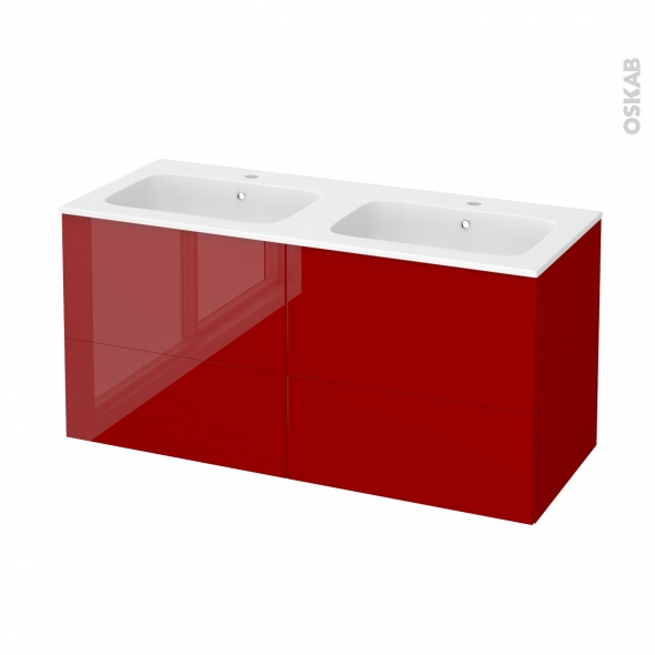 Meuble de salle de bains - Plan double vasque REZO - STECIA Rouge - 4 tiroirs - Côtés décors - L120,5 x H58,5 x P50,5 cm