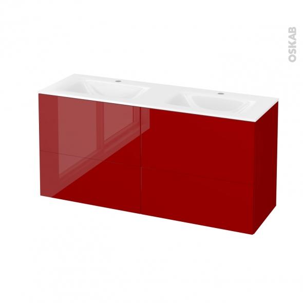 Meuble de salle de bains - Plan double vasque VALA - STECIA Rouge - 4 tiroirs - Côtés décors - L120,5 x H58,2 x P40,5 cm