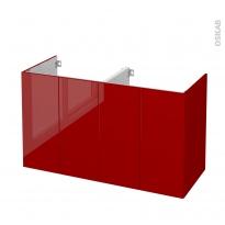 Meuble de salle de bains - Sous vasque double - STECIA Rouge - 4 portes - Côtés décors - L120 x H70 x P50 cm