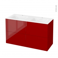 STECIA Rouge - Meuble salle de bains N°722 - Double vasque VALA - 4 tiroirs  - L120,5xH71,2xP50,5
