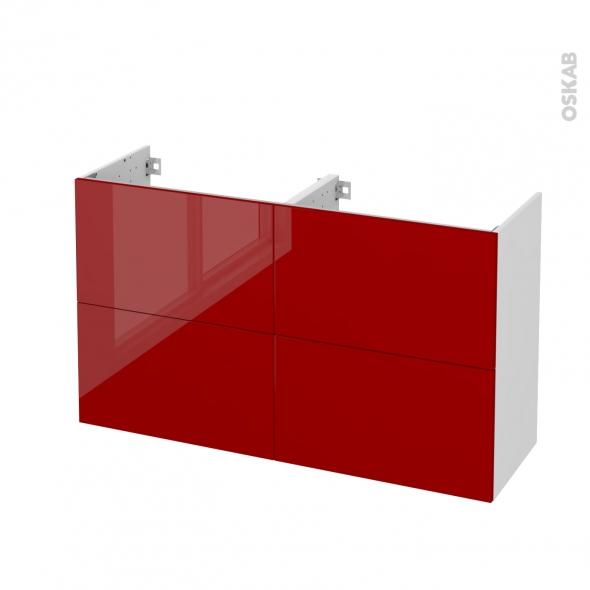 Meuble de salle de bains - Sous vasque double - STECIA Rouge - 4 tiroirs - Côtés blancs - L120 x H70 x P40 cm