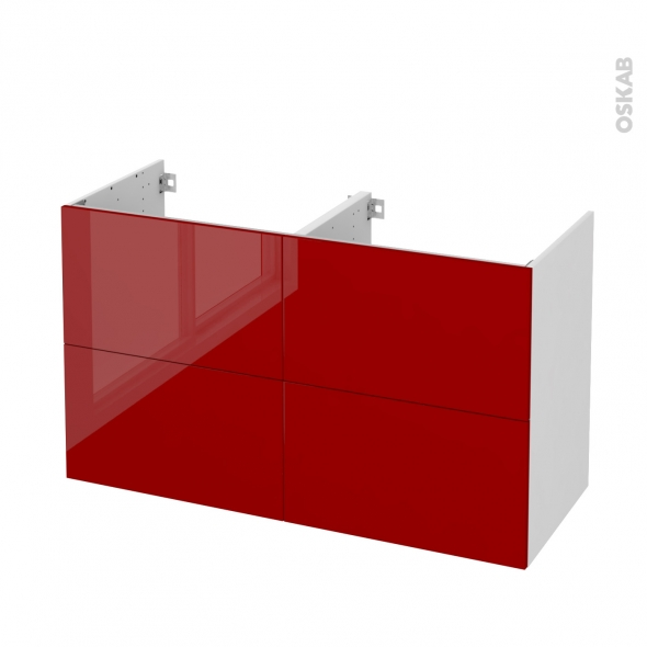 Meuble de salle de bains - Sous vasque double - STECIA Rouge - 4 tiroirs - Côtés blancs - L120 x H70 x P50 cm