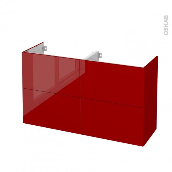 Meuble de salle de bains - Sous vasque double - STECIA Rouge - 4 tiroirs - Côtés décors - L120 x H70 x P40 cm