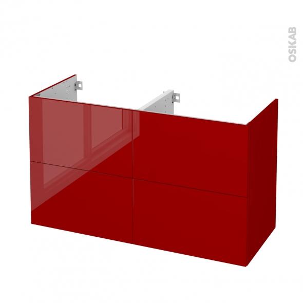 Meuble de salle de bains - Sous vasque double - STECIA Rouge - 4 tiroirs - Côtés décors - L120 x H70 x P50 cm