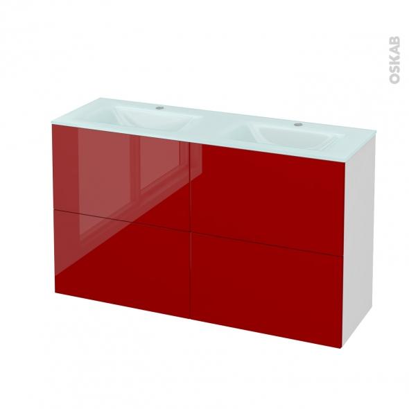 STECIA Rouge - Meuble salle de bains N°721 - Double vasque EGEE - 4 tiroirs Prof.40 - L120,5xH71,2xP40,5