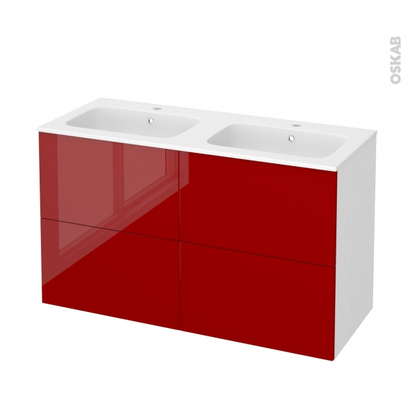 Meuble de salle de bains - Plan double vasque REZO - STECIA Rouge - 4 tiroirs - Côtés blancs - L120,5 x H71,5 x P50,5 cm