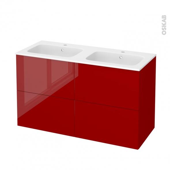Meuble de salle de bains - Plan double vasque REZO - STECIA Rouge - 4 tiroirs - Côtés décors - L120,5 x H71,5 x P50,5 cm