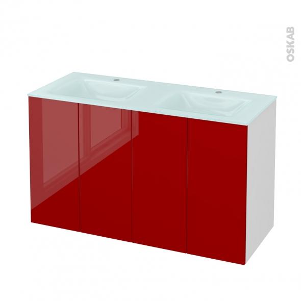 Meuble de salle de bains - Plan double vasque EGEE - STECIA Rouge - 4 portes - Côtés blancs - L120,5 x H71,2 x P50,5 cm
