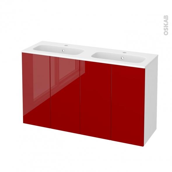 Meuble de salle de bains - Plan double vasque REZO - STECIA Rouge - 4 portes - Côtés blancs - L120,5 x H71,5 x P40,5 cm