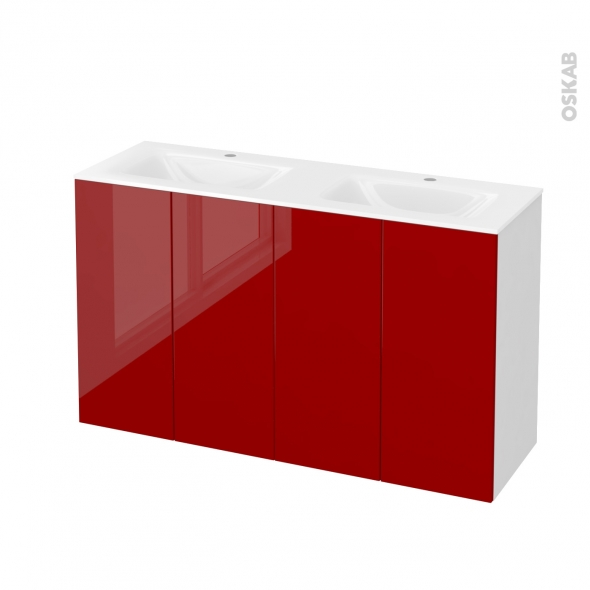 Meuble de salle de bains - Plan double vasque VALA - STECIA Rouge - 4 portes - Côtés blancs - L120,5 x H71,2 x P40,5 cm
