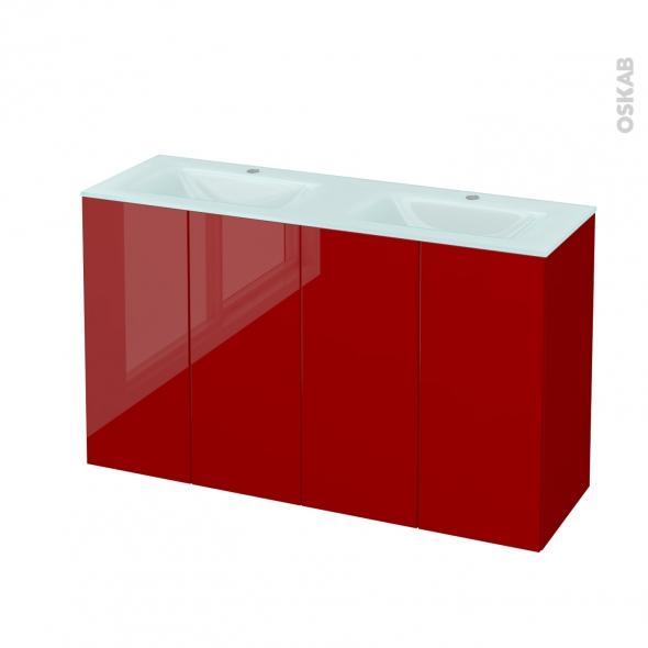 Meuble de salle de bains - Plan double vasque EGEE - STECIA Rouge - 4 portes - Côtés décors - L120,5 x H71,2 x P40,5 cm