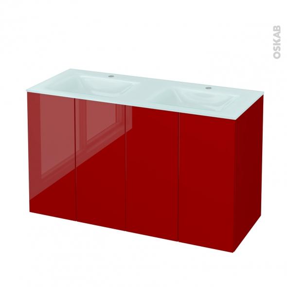 Meuble de salle de bains - Plan double vasque EGEE - STECIA Rouge - 4 portes - Côtés décors - L120,5 x H71,2 x P50,5 cm