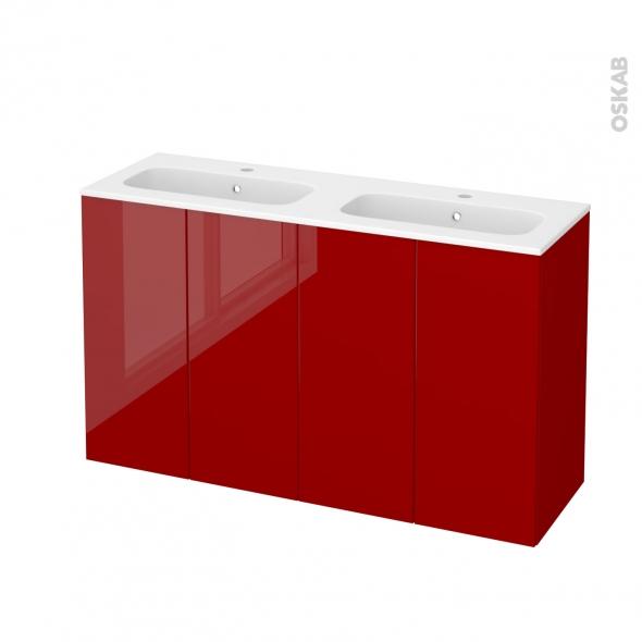 Meuble de salle de bains - Plan double vasque REZO - STECIA Rouge - 4 portes - Côtés décors - L120,5 x H71,5 x P40,5 cm