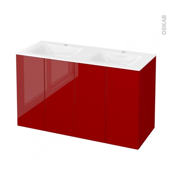 Meuble de salle de bains - Plan double vasque VALA - STECIA Rouge - 4 portes - Côtés décors - L120,5 x H71,2 x P50,5 cm