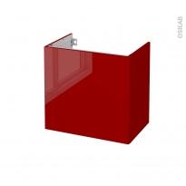 Meuble de salle de bains - Sous vasque - STECIA Rouge - 2 tiroirs - Côtés décors - L60 x H57 x P40 cm