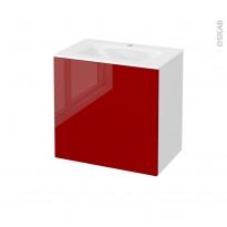 Meuble de salle de bains - Plan vasque VALA - STECIA Rouge - 2 tiroirs - Côtés blancs - L60,5 x H58,2 x P40,5 cm