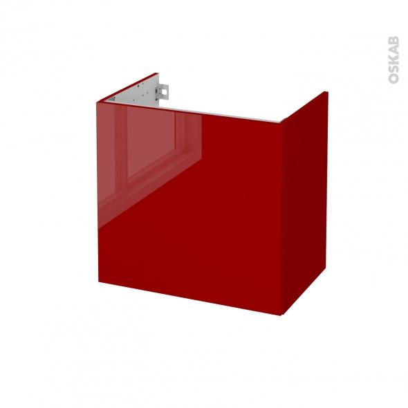 Meuble de salle de bains - Sous vasque - STECIA Rouge - 1 porte - Côtés décors - L60 x H57 x P40 cm