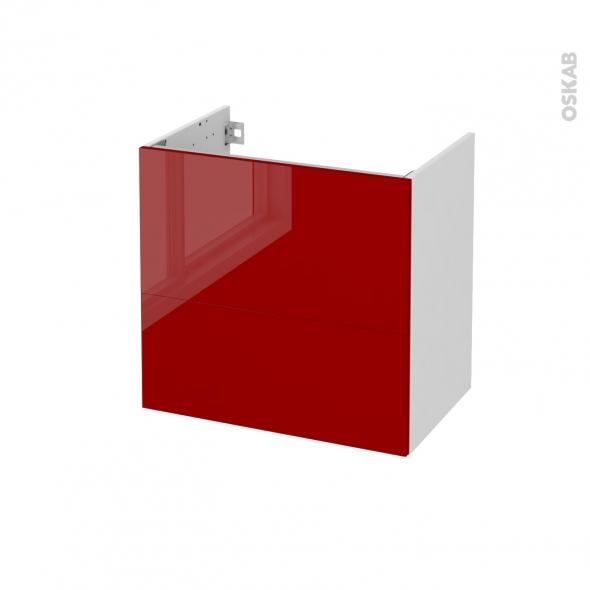 Meuble de salle de bains - Sous vasque - STECIA Rouge - 2 tiroirs - Côtés blancs - L60 x H57 x P40 cm
