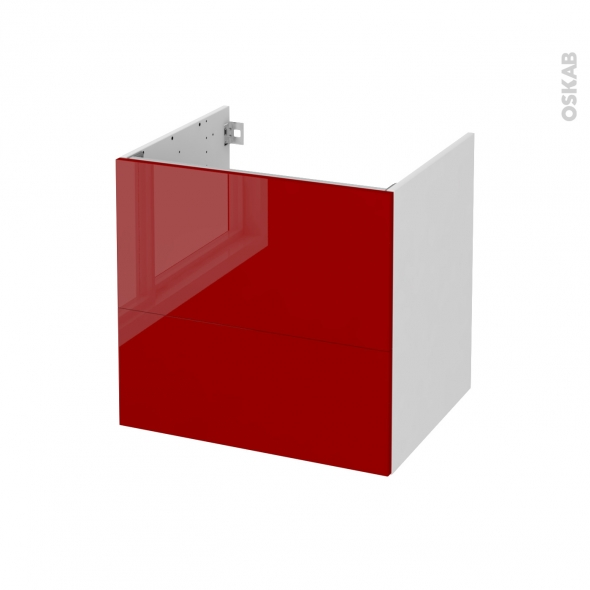 STECIA Rouge - Meuble sous vasque  N°621 - Côté blanc - 2 tiroirs - L60xH57xP50