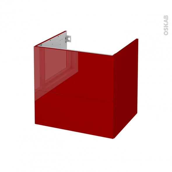 Meuble de salle de bains - Sous vasque - STECIA Rouge - 2 tiroirs - Côtés décors - L60 x H57 x P50 cm