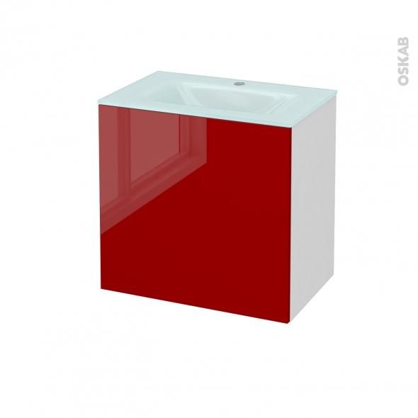 STECIA Rouge - Meuble salle de bains N°161 - Vasque EGEE - 1 porte Prof.40 - L60,5xH58,2xP40,5