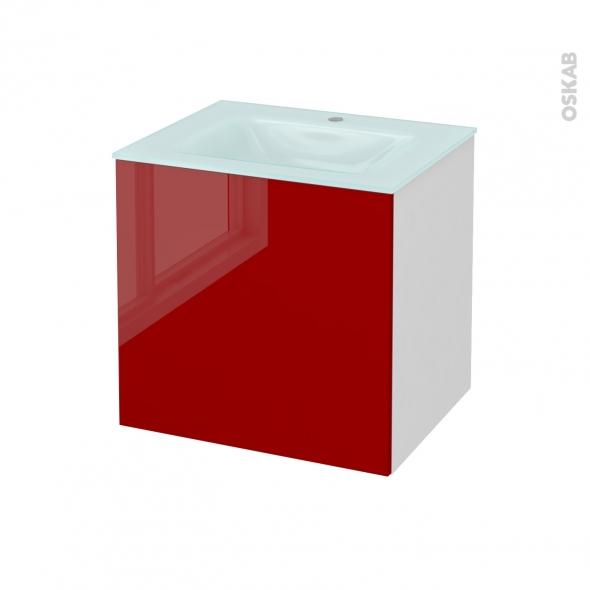 Meuble de salle de bains - Plan vasque EGEE - STECIA Rouge - 1 porte - Côtés blancs - L60,5 x H58,2 x P50,5 cm