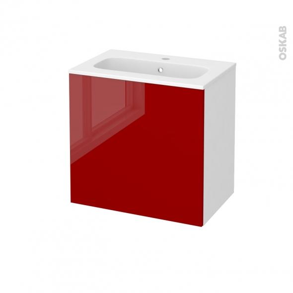 Meuble de salle de bains - Plan vasque REZO - STECIA Rouge - 1 porte - Côtés blancs - L60,5 x H58,5 x P40,5 cm