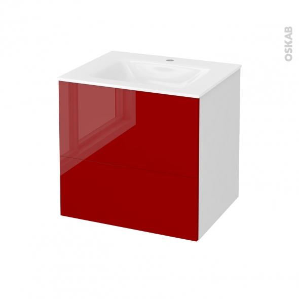 Meuble de salle de bains - Plan vasque VALA - STECIA Rouge - 2 tiroirs - Côtés blancs - L60,5 x H58,2 x P50,5 cm
