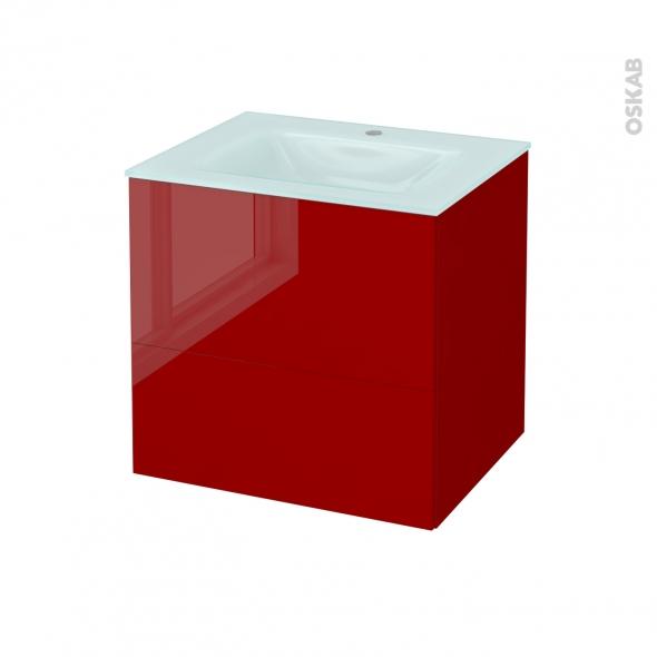 Meuble de salle de bains - Plan vasque EGEE - STECIA Rouge - 2 tiroirs - Côtés décors - L60,5 x H58,2 x P50,5 cm